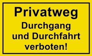 ☆ Schild - Privatweg Durchgang und Durchfahrt verboten 250/300 Kunststoff