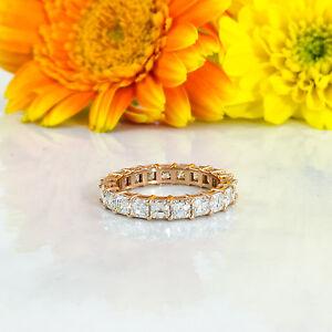 Asscher Cut Diamond Eternity Ring 18K Rose Gold Engagement Band Wedding Natural