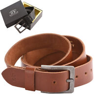 "Mens Gents 40mm - 1.5"" Real Soft Genuine Leather Belt 28"" to 46"" Black Tan"