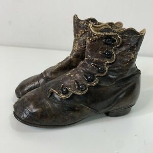 "Antique Victorian Child's Leather 6 Button Up Shoe Boot 6"" 8 stamped"