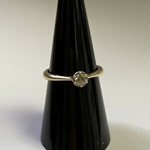 9ct Yellow Gold Solitaire Diamond Ring 0.25ct Size L.5