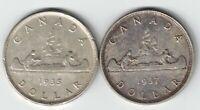 2 X CANADA SILVER DOLLARS KING GEORGE V & VI .800 SILVER COINS 1935 & 1937