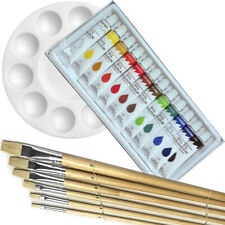 Artist 12 OIL COLOR Painting Paint Set + 6 Brush Set w/ ROUND Palette SET