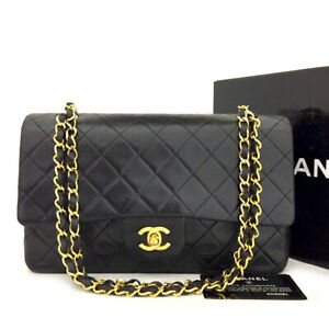 CHANEL Double Flap 25 Quilted CC Logo Lambskin w/Chain Shoulder Bag Black/71094