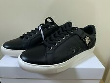 VERSACE COLLECTION BLACK LEATHER LACE UP TRAINERS PUMPS SHOES SIZE 10 UK RP £340