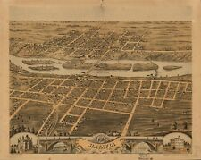 A4 Reprint of American Cities Towns States Map Batavia Illinois