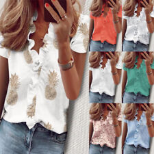 Women Summer Boho Short Sleeve Floral Print V Neck Blouse Casual Loose T Shirt
