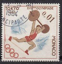 TIMBRE MONACO OBL N° 654  JEUX OLYMPIQUES DE TOKYO HALTEROPHILIE
