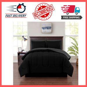 Mainstays 8 Piece Solid Bed-in-a-Bag Bedding Comforter Set, Full, Black