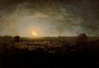 Oil painting Millet View of The frass of the herd, light of the moon canvas 36""