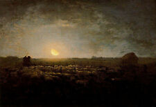 """Oil painting Millet View of The frass of the herd, light of the moon canvas 36"""""""