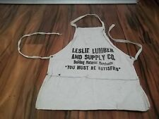 Vintage Leslie Lumber and Supply Co Building Material Carpenter Nail Apron