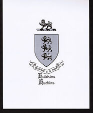 HUTCHINS/HUCKINS Coat of Arms & Family Crest - Vintage Print