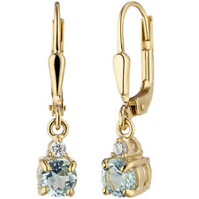 Ohrringe, Boutons, Edelstein Ohrhänger 22 mm, 333 Gold, Zirkonia+Blautopas 1,9 g