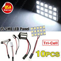 10X Pure White 5050 15SMD Panel Dome Interior Led+1156 Festoon T10 BA9S Adapter