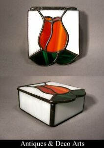 Leaded Glass Hinged Box with Flower Motive Lid
