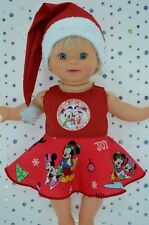 """Play n Wear Doll Clothes 13""""Little Mommy/Baby Born CHRISTMAS CIRCLE DRESS~HAT"""