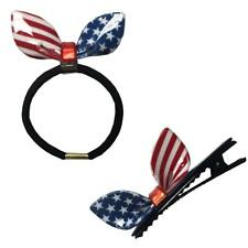 USA Flag Hair Clip and Elastic Girls Hair Ties Clips