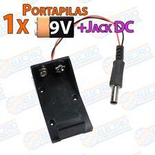 Portapilas 9v + conector Jack DC Macho 5.5 x 2.1 - Arduino Electronica DIY