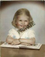 "Vintage Matted Photo - 8"" x 10"" - Smiling Little Girl - Bracelet, Necklace, Book"