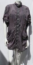 MUR MUR Women's Gray Gauzy Cotton Zip Drawstring Oversize Coat Dress size M EUC