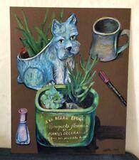 Original Colored Pencil By American Artist Melissa Bollen Terrier Succulent Aloe
