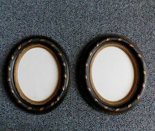 Pair  Antique Victorian Wood Oval Frame Black Gold