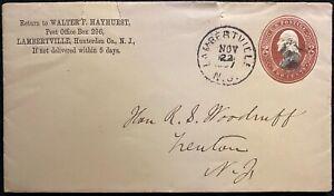 1887 ***WALTER F. HAYHURST*** LAMBERTVILLE, N.J. COVER+2 CENT SCOTT# U277 STAMP!