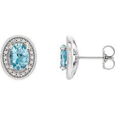 Aguamarina & Diamante halo-style Pendientes en 14k ORO BLANCO (1/5 CT. TW