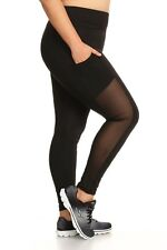 Womens Plus Size Activewear Solid Leggings With Mesh Side Pocket Panels X7L05