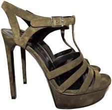 YSL YVES SAINT LAURENT OLive Suede Tribute Slingback Sandal Pump Shoe 39- 8.5