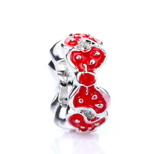 925 Silver Retro Dot Girl Mouse Red Bowknot Spacer Charm Bead For Bracelet
