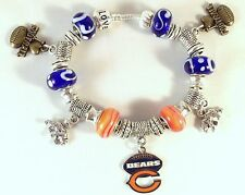 GLASS BEADS Official NFL CHICAGO BEARS Football Silver Charm Bracelet Fan Fave!