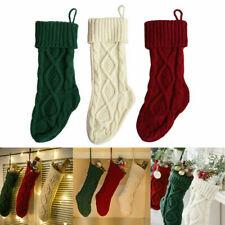 1/3X Christmas Stocking Knit Sock Santa Candy Gift Bags Xmas Tree Hanging Decor