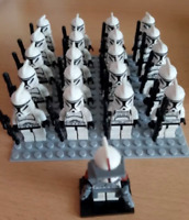 21 Pcs Minifigures Star Wars Clone Trooper Commander Captain Rex Storm Lego MOC