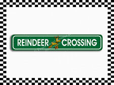 (SA-1564) Reindeer Crossing Christmas Holiday Street Sign 3×18 Metal Plaque