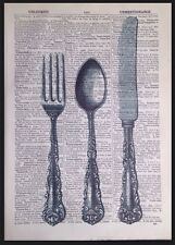 Vintage Cutlery Knife Fork Spoon Dictionary Page Print Picture Kitchen Wall Art