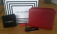 "LULU GUINNESS "" PORTIA "" CHINA RED GRAINY LEATHER WALLET/PURSE BNWT"