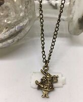 Vintage Look *Alice in Wonderland* Mini White Rabbit necklace. Gift Christmas