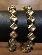 New Gold Plated Kundan Bangle Bracelet Pair Indian Pakistani Punjabi Kada SZ 2.6