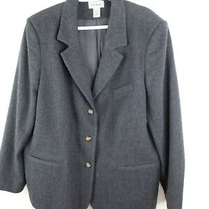 LL Bean Womens 20W Plus Blazer Vintage Wool Cashmere Made in USA Gray