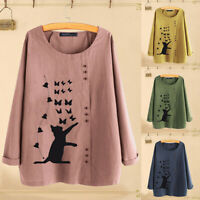 ZANZEA Women's Cat Print Long Shirt Tops Casual Round Neck Loose Blouse Jumper