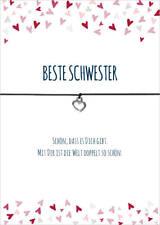 Armband Beste Schwester schwarz Herz versilbertes Metall, Schmuck, Geschenk