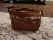 NEW Cognac Relic Bag Brown Cross Body Messenger Zipper Expandable Purse Woman