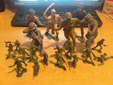 Vintage Louis Marx & Co. Toys Soldiers Plastic Grey Green Brown Army Men