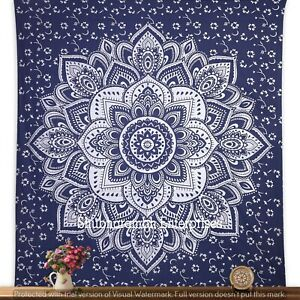 Mandala Large Silver Ombre Blanket Cotton Queen Handmade Indian Tapestry Decor