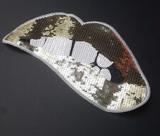 Gold Sequin Lips Biting Embroidered Iron/Sew-On Patch, Big Large Jacket Applique