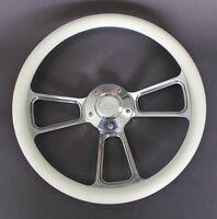 "53 54 Chevy Bel Air 150 210 White and Billet Steering Wheel 14"" Chevy Bowtie Cap"
