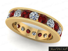 2.50Ct Round Ruby Diamond Channel Set Milgrain Eternity Band Ring 10k AAA H SI2