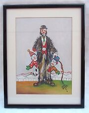 VINTAGE ORIGINAL SIGNED CLOWN OIL PAINTING BY NAKED CITY ACTOR PAUL BURKE SIGNED